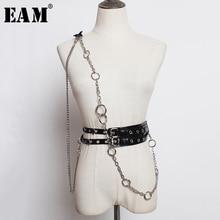 [EAM] עור מפוצל שחור שרשרת פיצול משותף כפול אבזם חגורת אישיות נשים חדשה אופנה כל התאמה אביב סתיו 2020 1M527