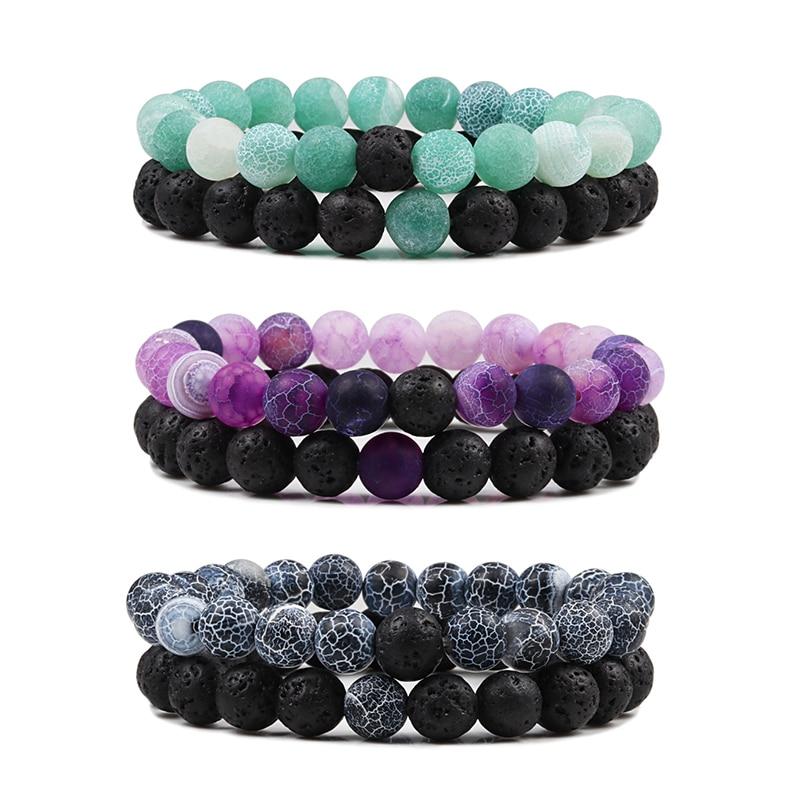 2PCS/Set Beaded Bracelets Bangles Set Natural Lava Stone Couples Distance Energy Elastic Rope Men Women Best Friend Jewelry Gift
