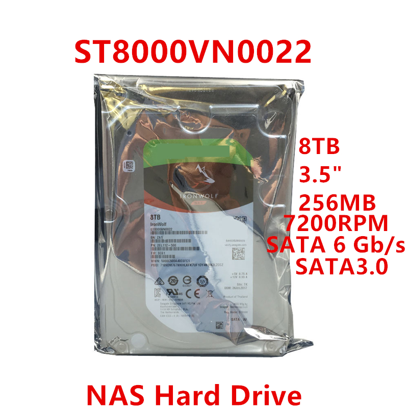 """New HDD For Seagate Brand 8TB 3.5"""" SATA 6 Gb/s 256MB 7200RPM For Internal HDD For NAS HDD For ST8000VN0022 1"""