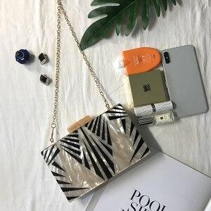 Image 3 - Bolsa de acrílico feminina, bolsa de acrílico de pérola com corrente geométrica, de retalhos, elegante, para festas, baile