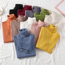 Однотонные пуловеры с высоким воротом, женские свитера, зимние винтажные женские вязаные свитера, женские корейские Повседневные свитера с длинным рукавом Kawaii