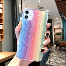 LISM Rainbow Stripe Phone Case For IPhone 12 11 Pro Max 6 7 8 Plus X XS XR SE2 Transparent Shockproof Mobile Phone Case  Cover