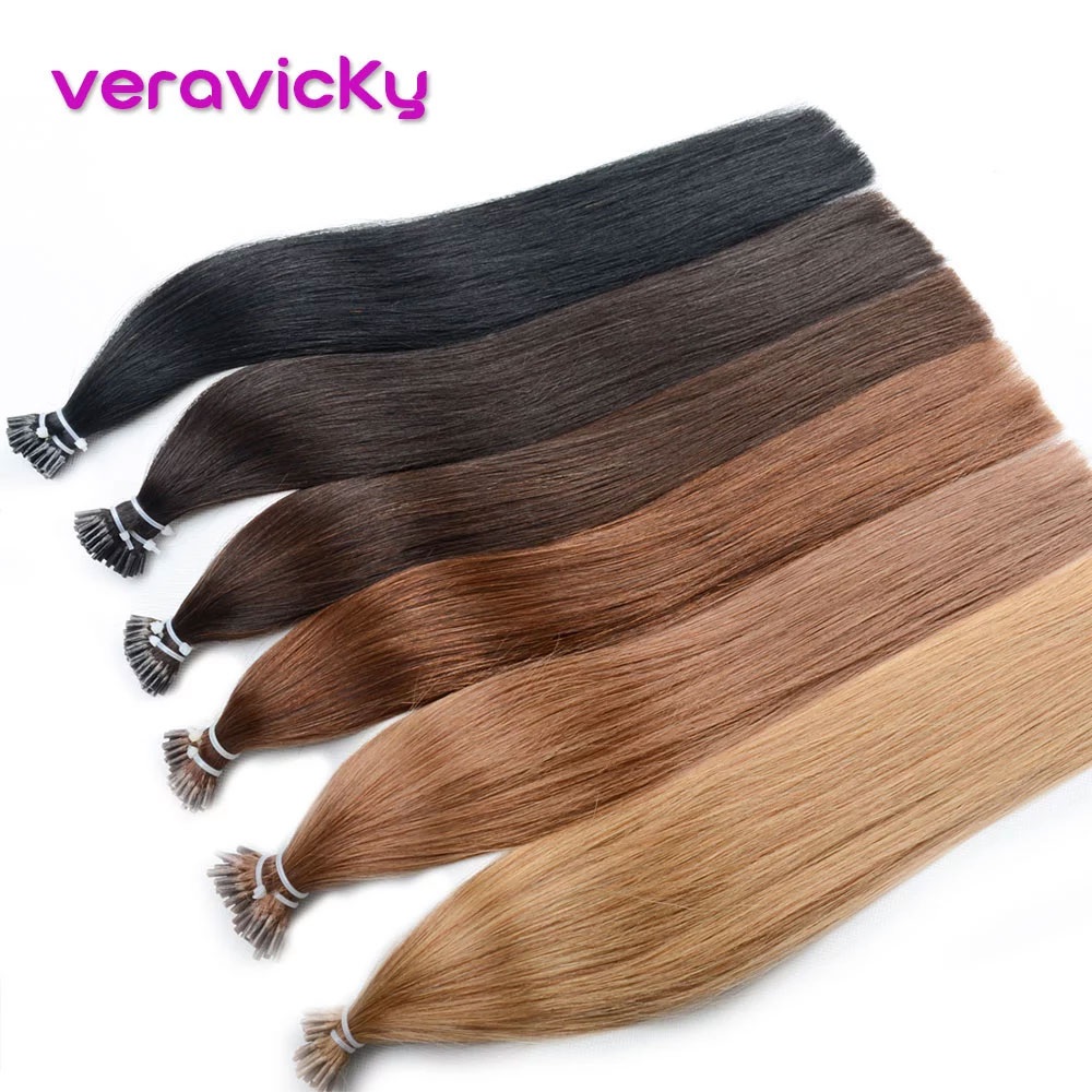Hair-Extensions Bonding 100%Human-Hair Capsule Remy-Hair I-Tip Pre-Bonded Straight 50pc