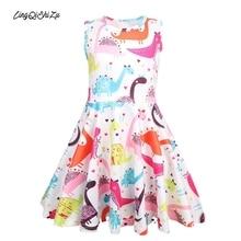 цена на Dinosaur Princess Dress Girls Princess Polyester Summer Toddler Vintage Girl Dress Active Pink Dress Girls 4 Years Child Rainbow