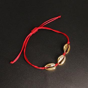 Modne złote powłoki bransoletki plażowe na kostkę moda ręcznie tkane wino czerwona linka łańcuszek na kostkę bransoletka na kostkę dla kobiet K217 tanie i dobre opinie shenglin Ze stopu cynku Metal 35cm Kobiety BOHEMIA GEOMETRIC