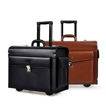 Black Pu Leather 20 Inch Boarding Suitcase With Password LockTrunk Pull Rod Box Portable Travel Box Aviation Box Luggage Trolley