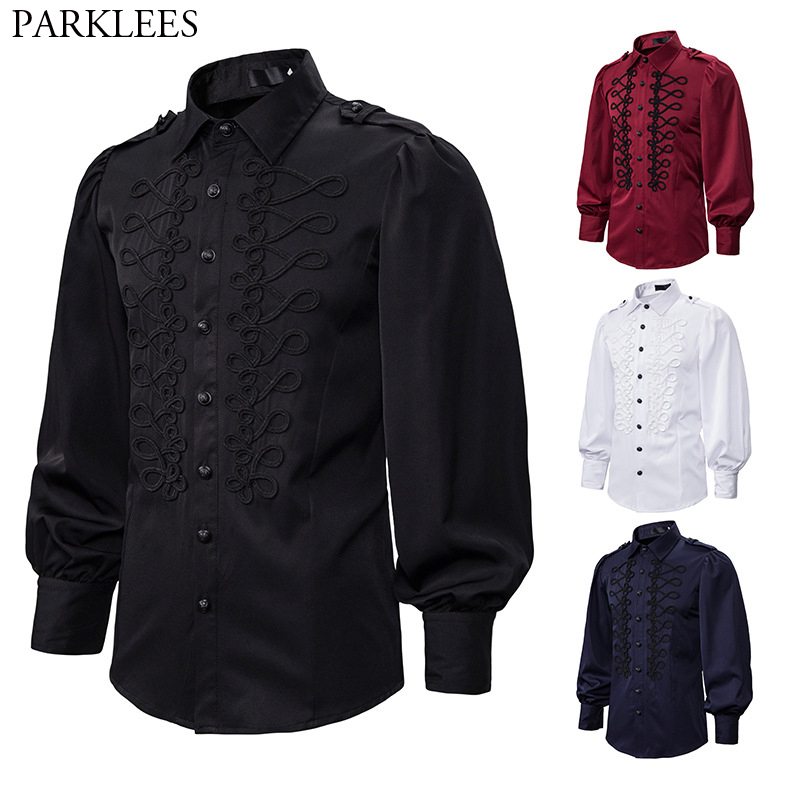 Men's Punk Gothic Steampunk Shirt 2020 Club Party Evening Victorian Renaissance Shirts Mens Casual Blouse Tops Chemise Homme 2XL