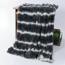 Striped Plush Blanket Double Crystal Velvet Double-deck Chunky Warm Sofa Blanket Couch Chair Bed Blankets for Bedroom