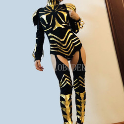 Gold Mirror Armor Jumpsuit Female Warrior Soldier Role-playing Performance Clothes DJ Nightclub Dance Team Stage Cosplay Costume