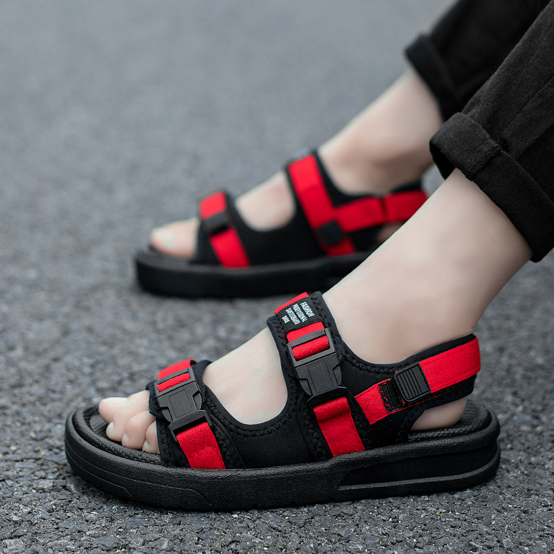 Men's Summer Sandals High Quality Casual Style Beach Shoes Male Outdoor Holiday Travel Footwear Teenager Youth Velcro Sandals