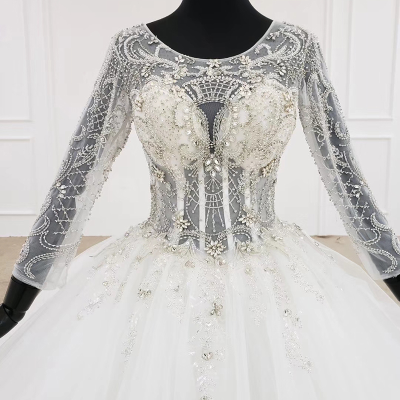 Image 4 - HTL1101 like white wedding dress long sleeve o neck lace up open back crystal corset bridal gowns European and American styleWedding Dresses   -