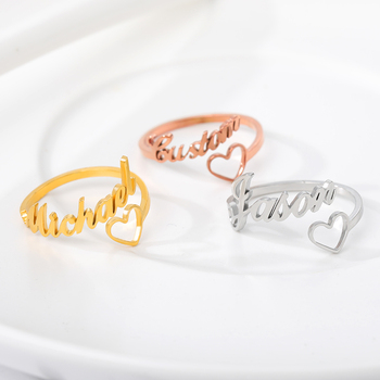 Customizable Personalized Name Rings For Men Adjustable Open Heart Stainless Steel Custom Couple Wedding Jewelry Women