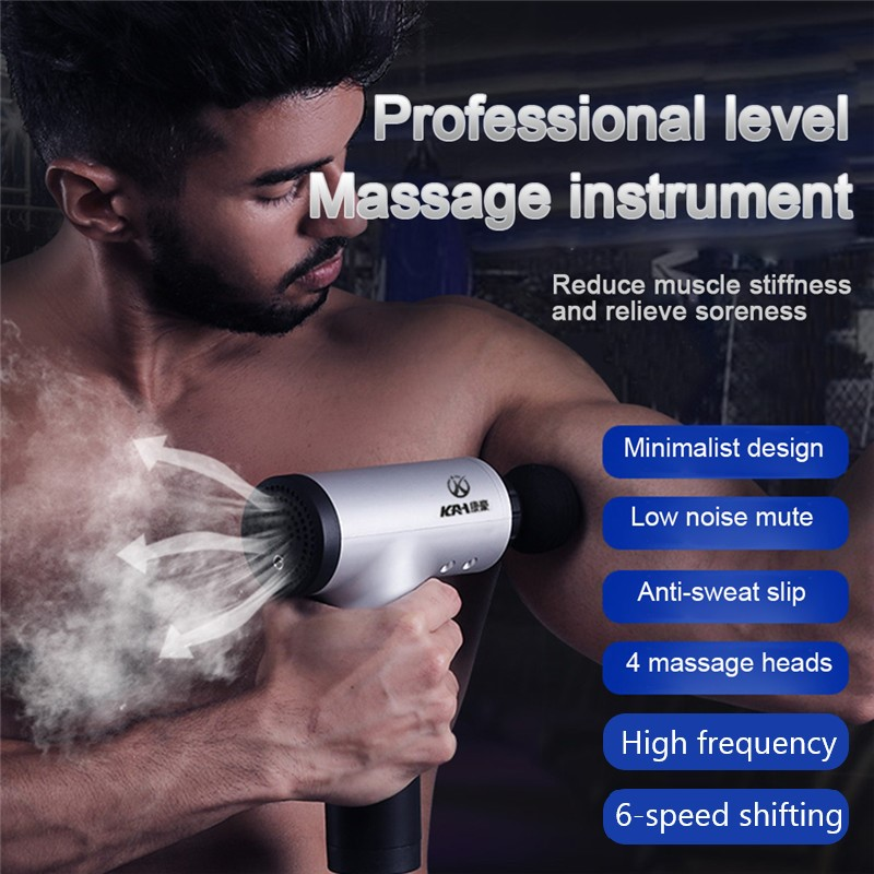 Body Muscle Massage Gun Muscle Relaxation Electric Deep Tissue Massager Slimming Shaping Pain Relief 4 Heads Fitness Equipment