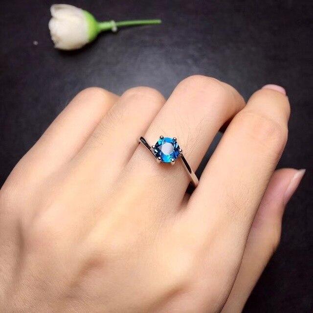 Naturalny niebieski Topaz pierścienie dla kobiet, 925 Sterling Silver, 6*6mm kamień biżuteria szczęśliwy kamień z aksamitne pudełko FJ299