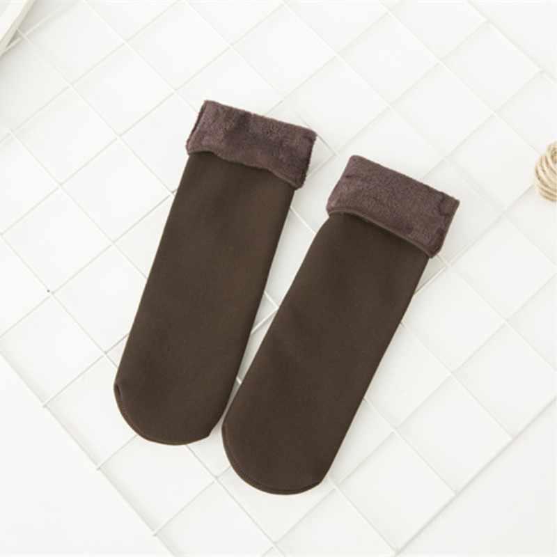 Jeseca sıcak kadın çorap kalınlaşmak termal yün kaşmir kar kış çorap Unisex dikişsiz kadife bayan botları zemin uyku tulumu