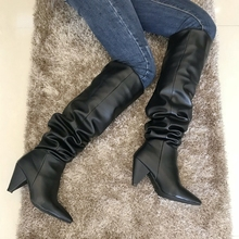 Black Leather Thigh High Boots Spike Heel Women High Heel Over The Knee Boots Woman Pleated Pointed Toe Hiden Zip Winter Boots leather thigh high boots for sale black over the knee boots pointed toe boots high heel stiletto shoeswinter shoes for women