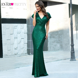 Sexy Mermaid Evening Dresses Ever Pretty EP00608DG Double V-Neck Short Sleeve Sequined Draped Sparkle Formal Gowns Robe Longue
