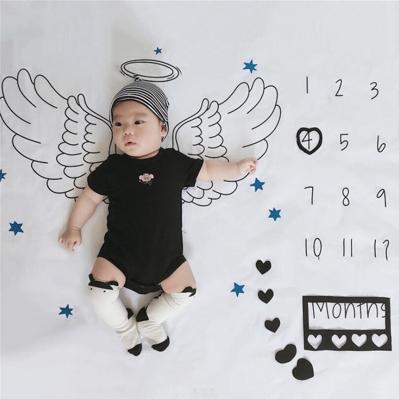 Baby Monthly Milestone Anniversary Blanket Newborns Photo Props Growth Souvenir Blanket Photograph Angel Wings Background Cloth