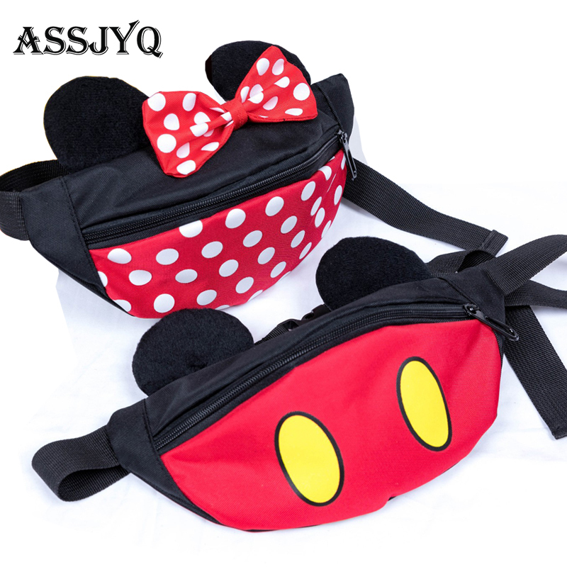 Child Cartoon Mickey Waist Bag Children's Fanny Pack Storage Space Fashion Girl Crossbody Waist Bags Gift Kids Waterproof Pocke