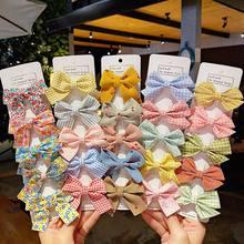 5 Pcs/Set Cotton Star Printed Bowknot Hair Clips For Cute Kids Girls Barrettes Safty Hairpins Headwear Accessories Headdres