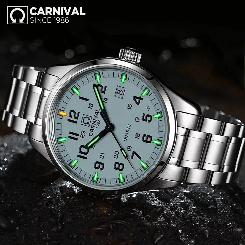 Carnival Mens Watches Clock Tritium Quartz Military Luxury Relogio Masculino Luminous title=