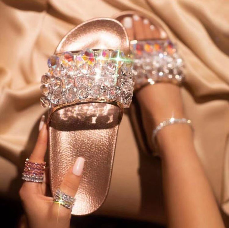 2019 Shoe Women Ladies Slippers Flip Flops Women Female Slippers Home Women Diamond Bling  Slides Sandals Casual Shoes Slipper
