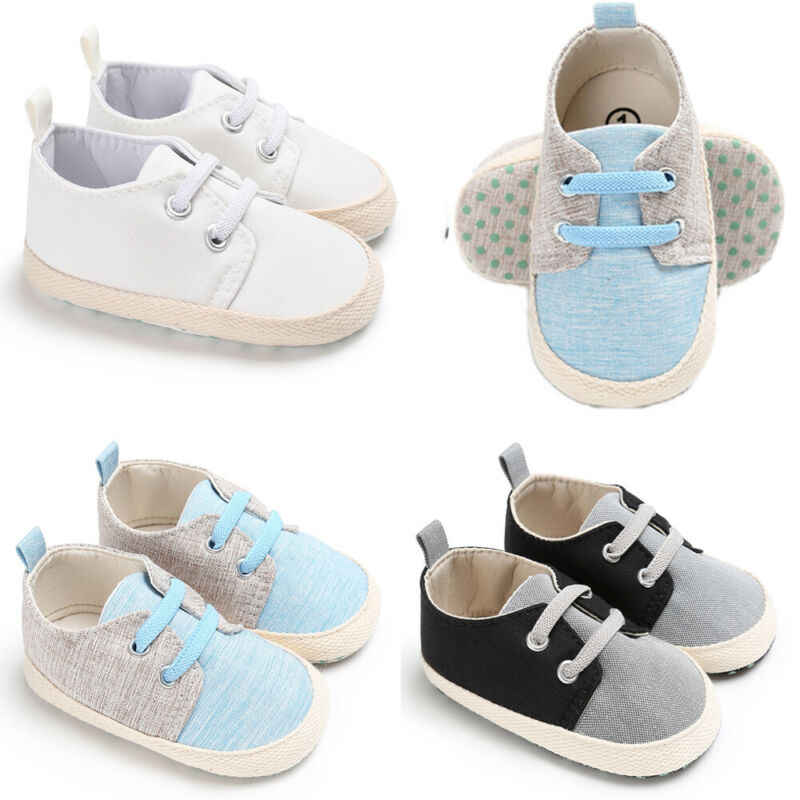 Baby Casual Shoes Baby Boy Girl Pram Shoes Infant Sneakers Casual Toddler Prewalker Trainers Soft Sole Canvas Sneakers