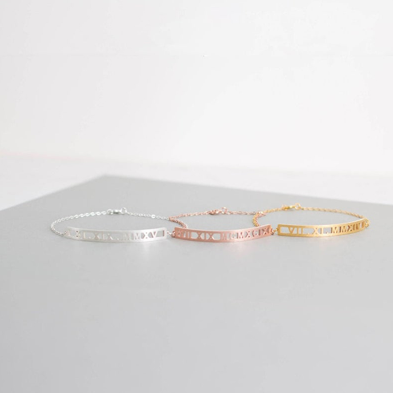 Custom Roman Numeral Anklet Silver Gold Chain Stainless Steel Personalized Name Date or Word Anklet Best Friends Gift BFF