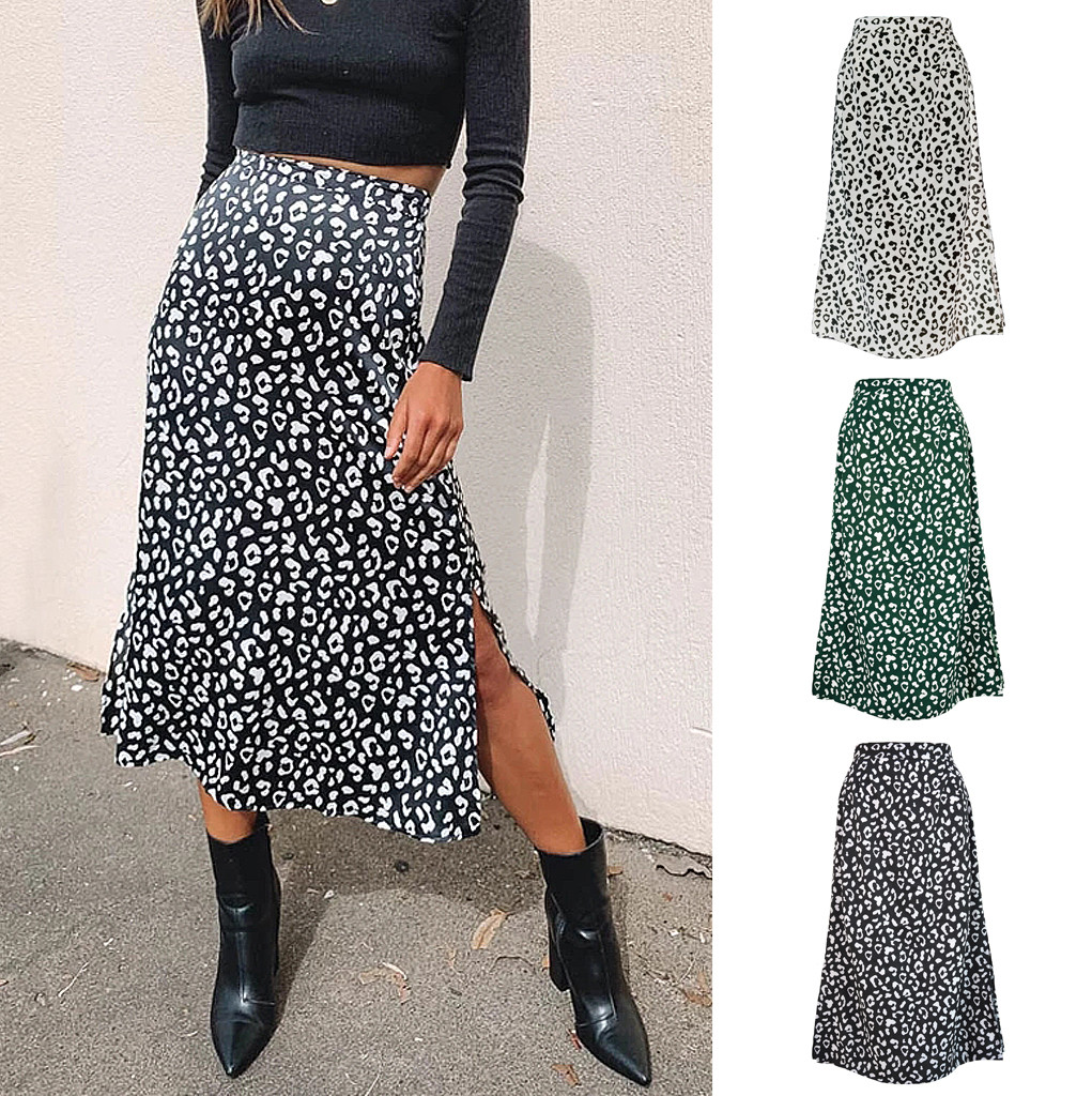 Womens Fashion Leopard Print Zipper High Waist Casual Satin Mid Calf Skirt Юбка Skirt Юбка Женская Юбки Женские