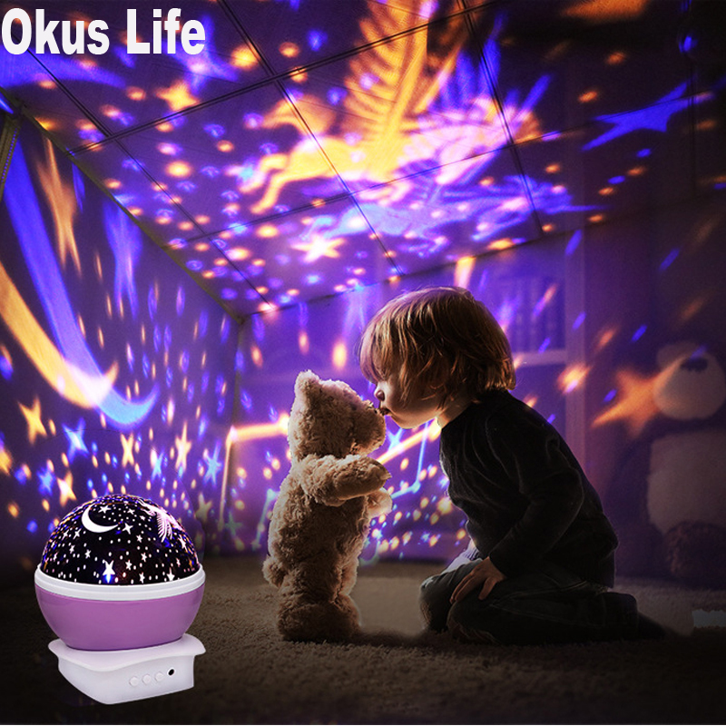 USB Rotating Unicorn Night Light Projector Lamp Starry Sky Star Children Kids Baby Sleep Romantic Led Projection Lamp Gift Set