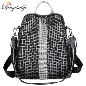 Image 1 - Multifunction Women Backpacks Shoulder Bags Fashion Summer Backpack Leather Women Backpacks Light Lady Large Capacity School Bag