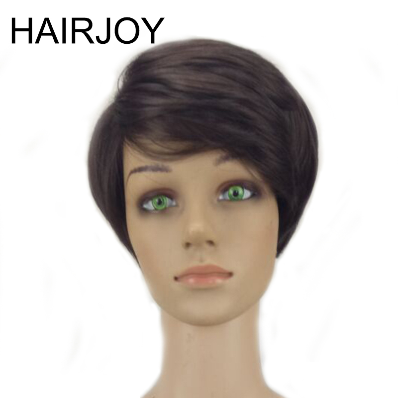 HAIRJOY Short Straight  Wig Heat Resistant Synthetic Hair Women  Natural Black Wigs 3 Colors Available Free Shipping