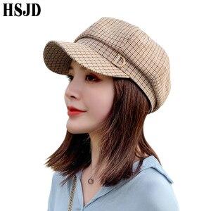 Image 2 - 格子縞の八角フラットキャップファッションラインストーンレターd女性の夏春格子画家帽子女性のレトロなベレーボンネット