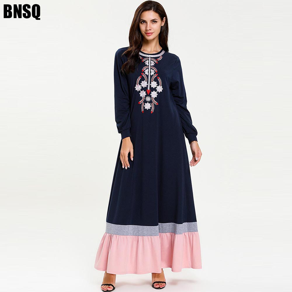 BNSQ Elegant Arabian Ramadan National Floral Embroidery Long Dress Sleeve Large Swing Multicolor Stitching Casual Maxi M-4XL