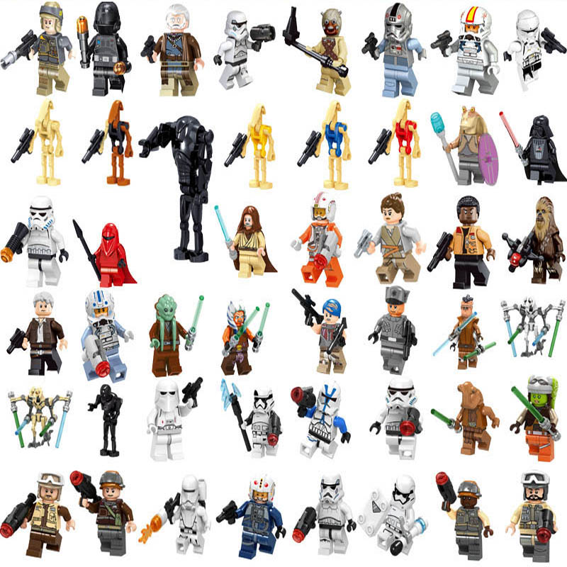 Star Wars Figures Luke Leia Han Solo Ray Finn Darth Vader Obiwan Starwars Movie Building Blocks Toys For Children