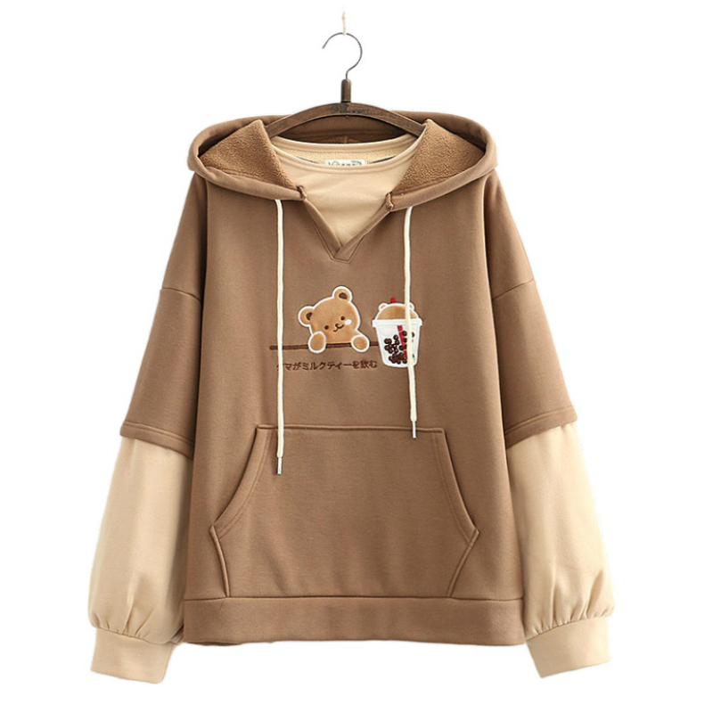 Fleece Harajuku Cartoon Bär Stickerei Beiläufige Hoodies Sweatshirt Frauen 2020 Winter Langarm Patchwork Koreanischen Stil Pullover