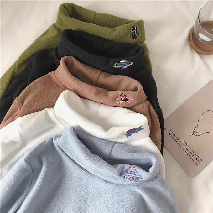 冬の新カレッジ刺繍ハーフ高襟ファッション女性 Tシャツ韓国オル女性の漫画のプリント女性ボトトップス