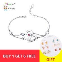 StrollGirl New Personalized 925 Silver Interlocking Two Heart Birthstones Bracelet Engraved Couple name Custom Valentines Gift