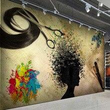 Papel pintado De Mural personalizado, silueta nostálgica 3D, peluquería, Graffiti, Fresco, Papel De pared creativo Retro, Papel De pared