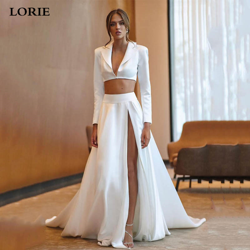 LORIE Satin Wedding Dress Long Sleeve 2 Pieces Sexy V Neck Flowers Bride Dress Jacket Style Side Split Vestido De Novia 2019