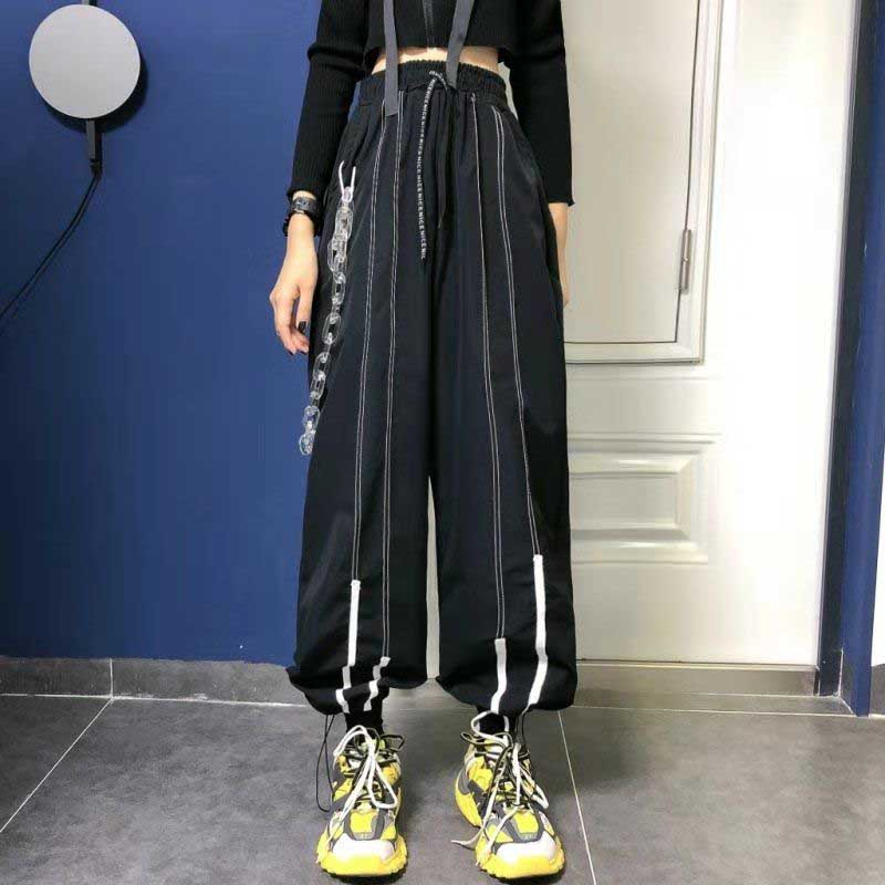 NiceMix Autumn New Women Front Strips High Wait Lace Up Sports Casual Loose Straight Pants Fashion Streetwear 2019