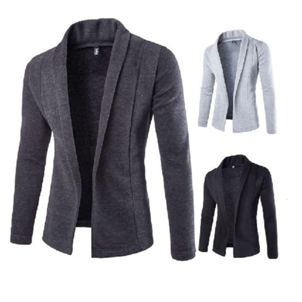 Fashion 2019 Men's Casual Slim Fit Solid No Button Suit Blazer Business Work Coat Jacket Outwear