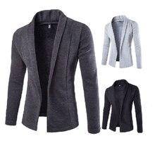 Fashion 2019 Men's Casual Slim Fit Solid No Button Suit Blazer Business Work Coat