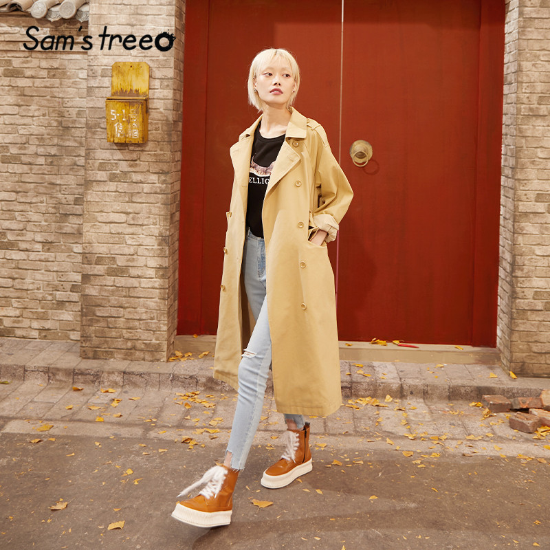 SAM'S TREE Khaki Solid Double Button Trench Coat Women 2020 Spring New Long Sleeve Belted Loose Casual Ladeis Basic Outwears