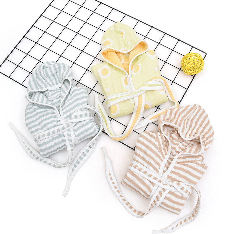 Six-layer Children Pure Cotton Pajamas Tracksuit Bathrobe Childrenswear Autumn & Winter Kids Air Conditioning Clothes Baby Bathr