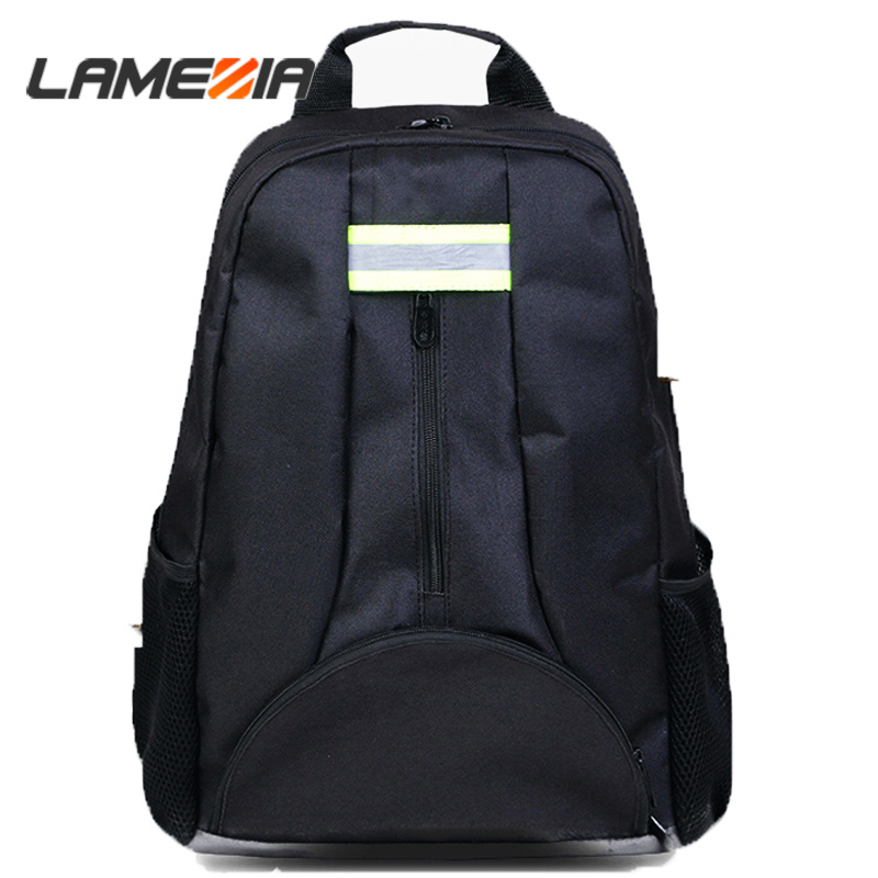 LAMEZIA Oxford Cloth Fabric Backpack Multi-function Outdoor Electricians Tool Bag Black Durable Toolbag