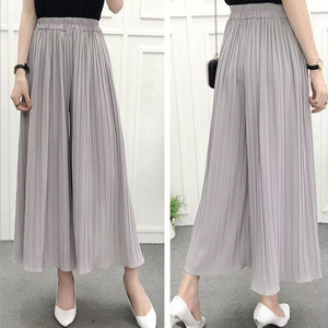 Palazzo Pants Pleated wide leg pants female summer 2019 new Korean version Calf Length Pants high waist loose Casual Trousers