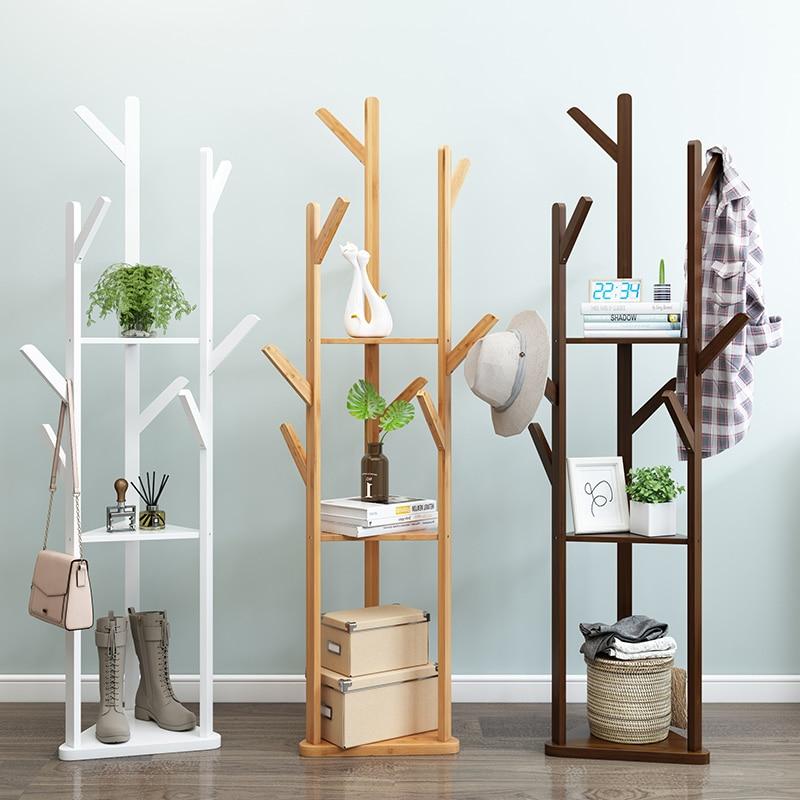 Floor Standing Clothes Rack Wood Drying Hanger 38x38x170cm Coat Hanger Rack Handbag Storage Bamboo Shelf Bedroom Furniture Z3
