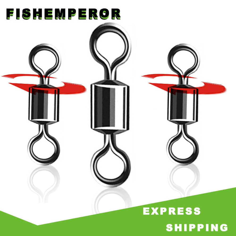 FISH EMPEROR 50pcs Bearing Swivel Fishing Connector 2#-12# Barrel Rolling Solid Rings For Fishhook Lure Link Fishing Accessories