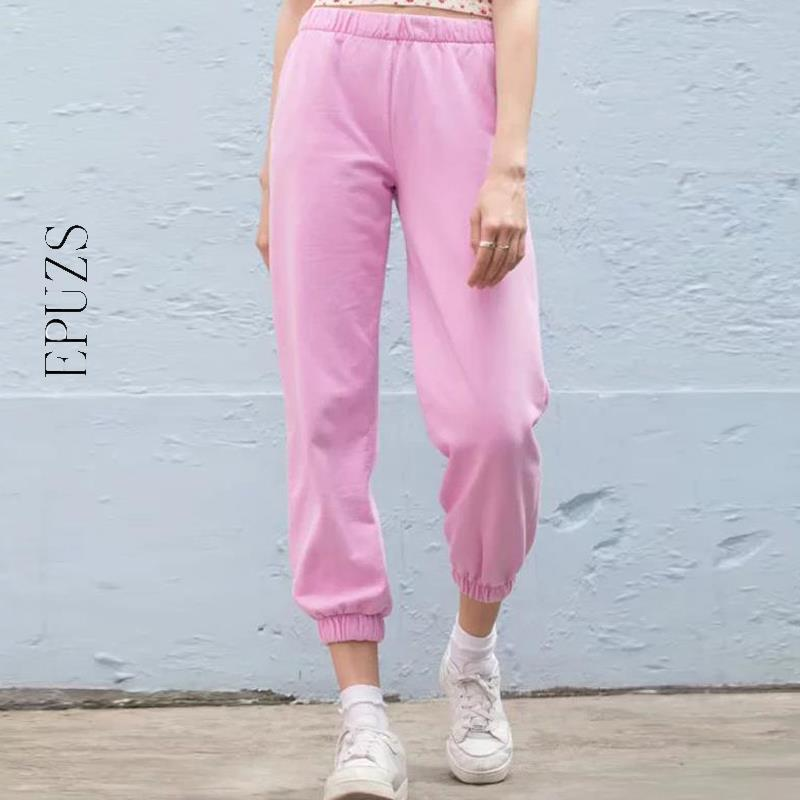 Casual Pink Harem Pants Women Joggers Fenale Sweatpants Streetwear Cotton High Waist Pants Ladies Long Trousers